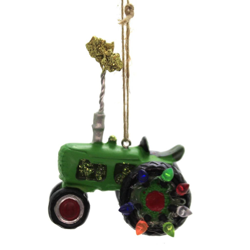 Holiday Ornaments TRACTOR Polyresin Farm Equipment Christmas J1318 Green