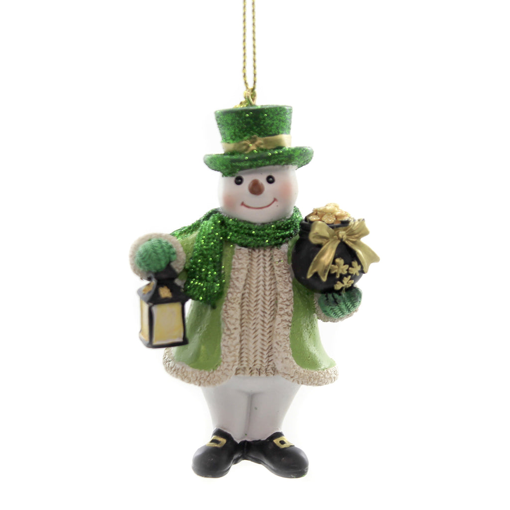 Holiday Ornaments IRISH SNOWMAN Polyresin Pot Of Gold St Patricks C7675 Lantern