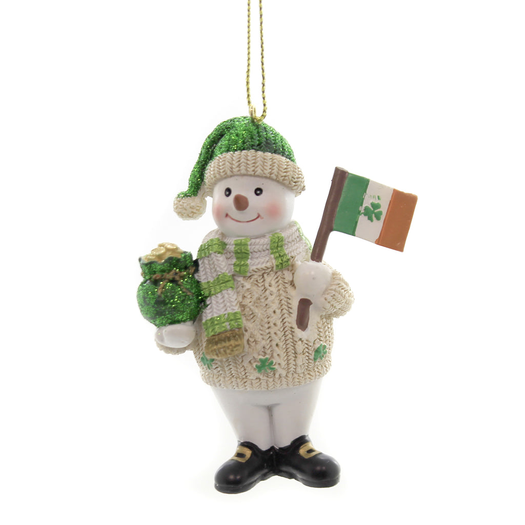 Holiday Ornaments IRISH SNOWMAN Polyresin Pot Of Gold St Patricks C7675 Flag