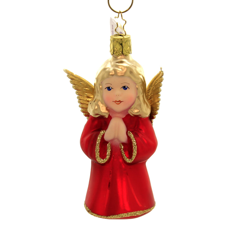 Inge Glas ANGEL Glass Gold Wings Traditonal Red 10212S019