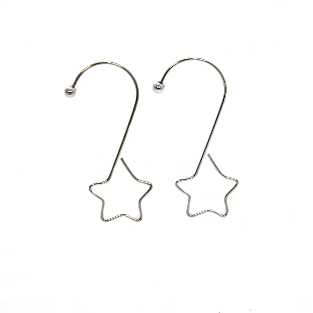 Inge Glas S-SHAPE SILVER HOOK WITH STAR Metal Chirstmas Ornament Hanger 190304