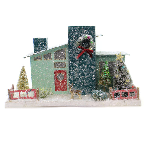 Cody Foster GREEN MID CENTURY HOUSE Mcm Christmas Light Up 1950 Hou262 41136