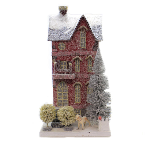 Cody Foster RED TOWN HOUSE Paper Mache Christmas Light Up Vintage Look Hou256 41139