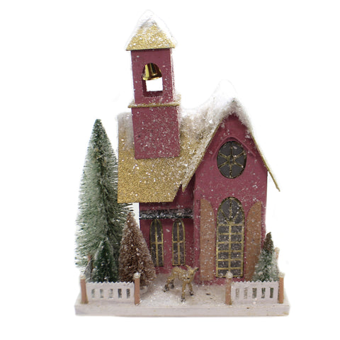 Cody Foster FROSTED PINK ADOBE Christmas Putz Light Up Vintage Hou271 41144