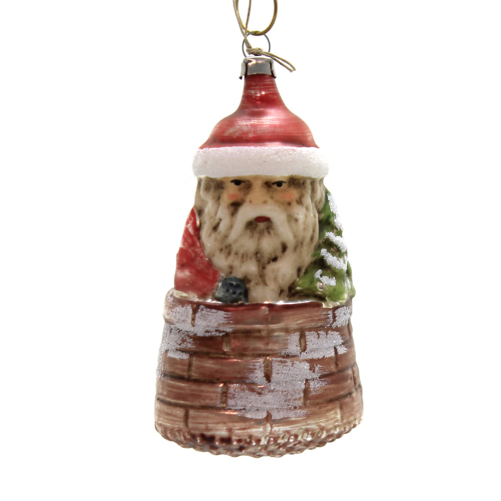 Marolin SANTA IN CHIMNEY Glass Ornament Feather Tree 2011213