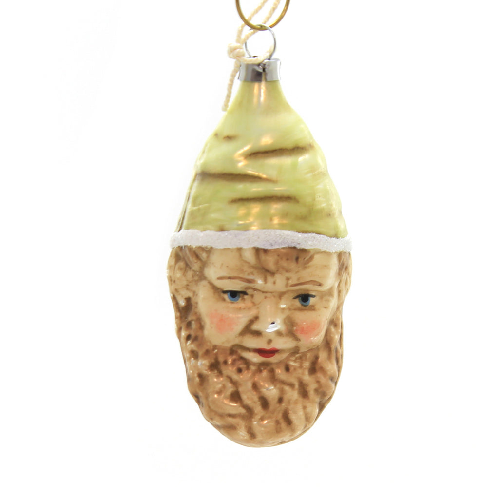 Marolin GREEN HAT GNOME Glass Ornament Feather Tree 2011018