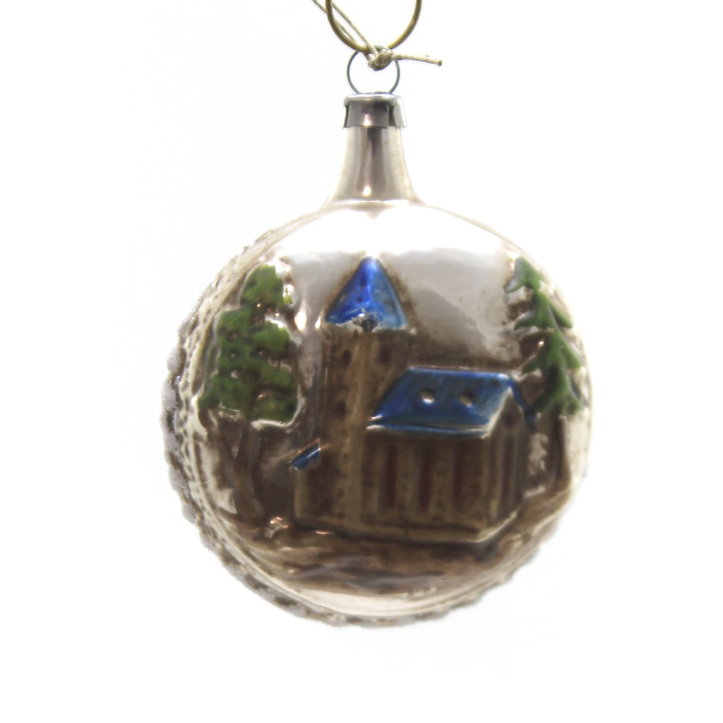 Marolin BLUE ROOF CHURCH Glass Ornament Feather Tree 2011202