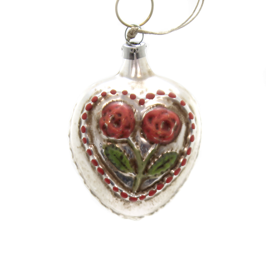 Marolin ROSE HEART Glass Ornament Feather Tree 2011122