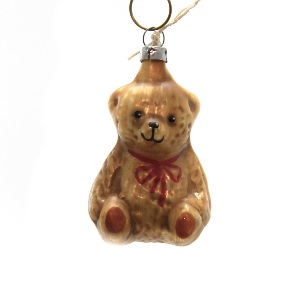 Marolin SITTING TEDDY BEAR Glass Ornament Feather Tree 2011120