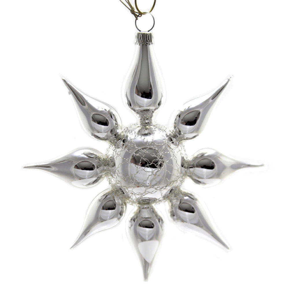 Marolin SILVER STAR w/ OBLATE Glass Ornament Feather Tree 2018141