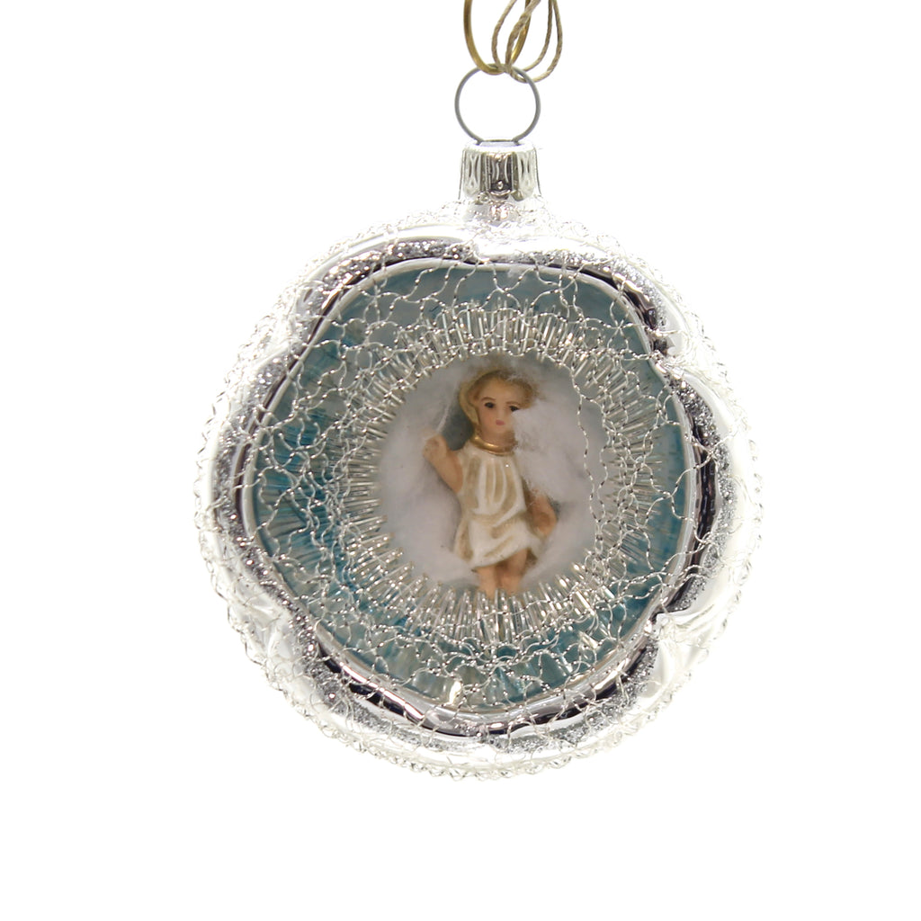 Marolin LYONESE ORNAMENT w/ BABY JESUS Ornament Gilded Feather Tree 2018131