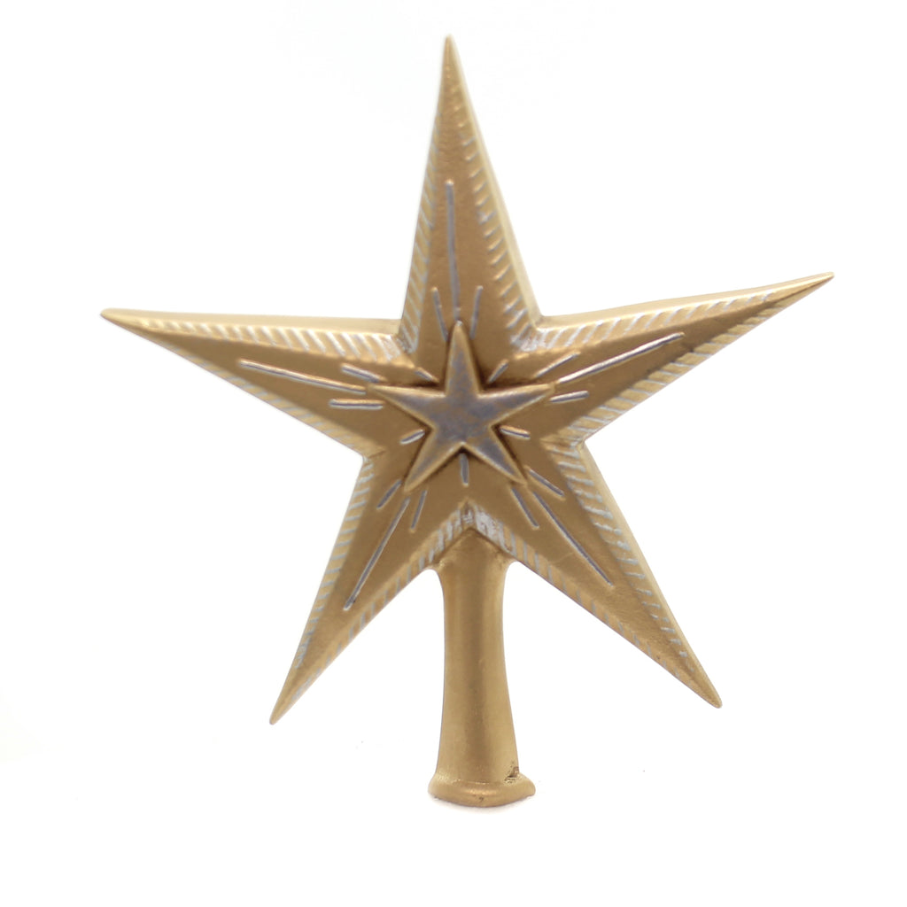 Marolin 7 INCH BINARY STAR SILVER & GOLD Paper Mache Tree Topper Finial 200314G