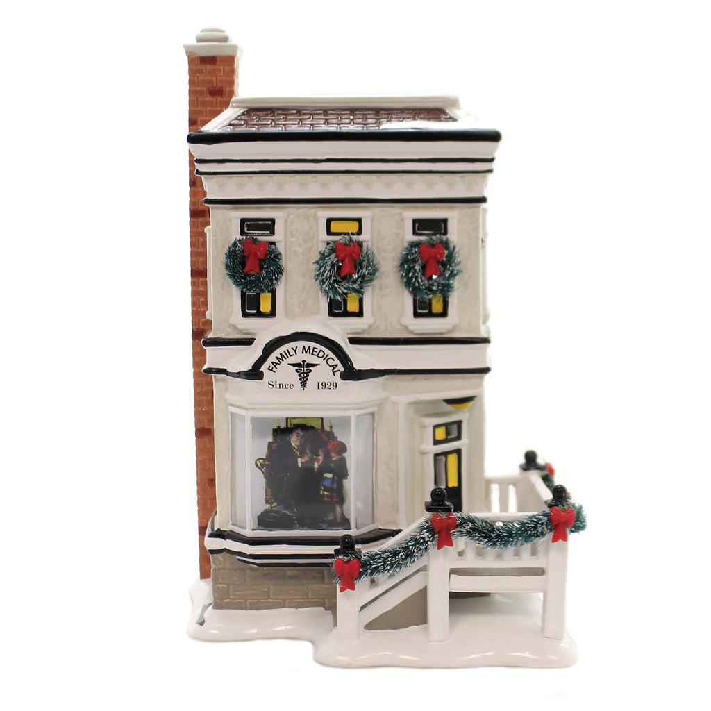 Department 56 House ROCKWELL'S DOCTOR'S OFFICE Ceramic Snow Village 6003133