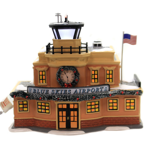 Department 56 House BLUE SKIES AIRPORT Ceramic Flying Plane 6003139