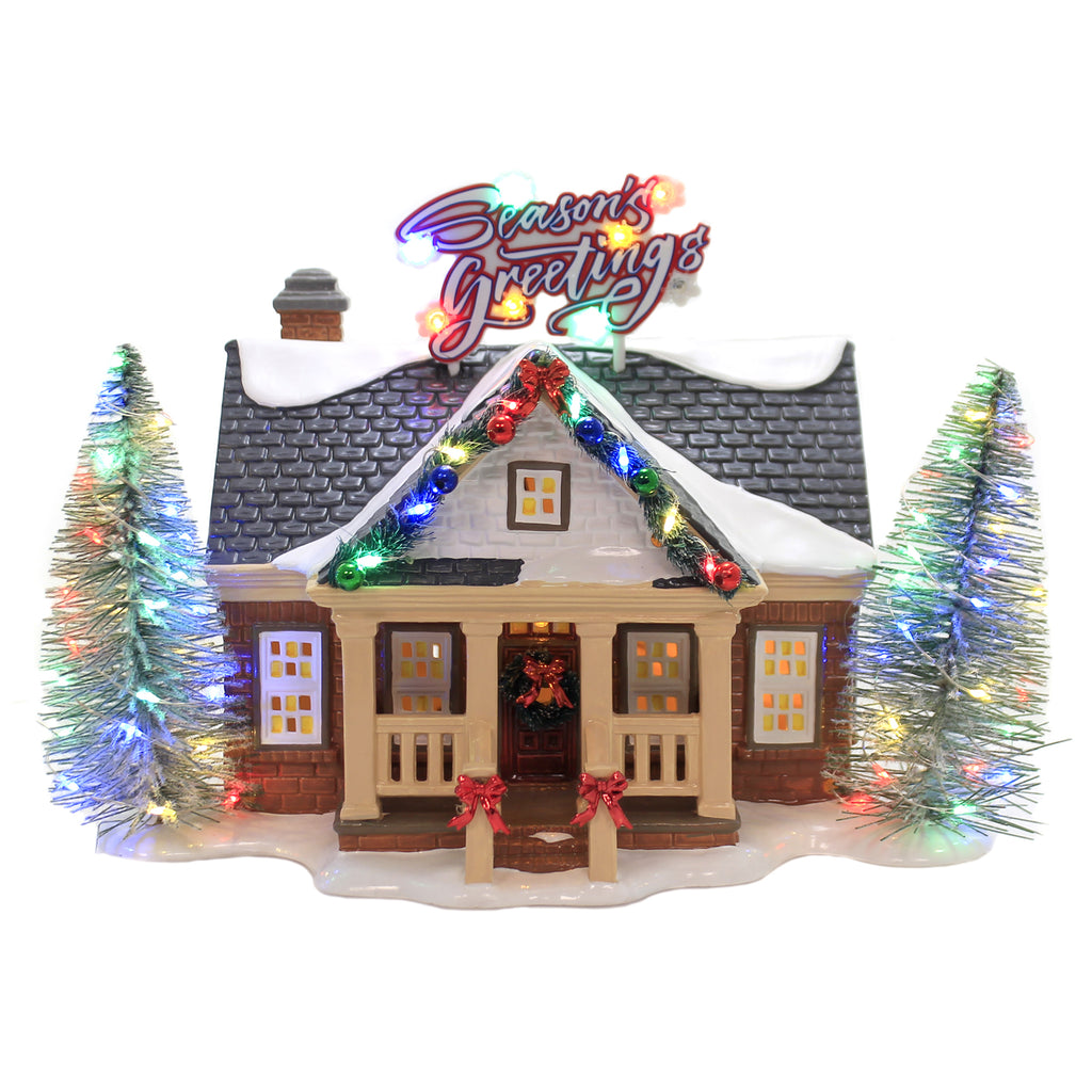 Department 56 House BRITE LITES HOLIDAY HOUSE Seasons Greetings House 6003131