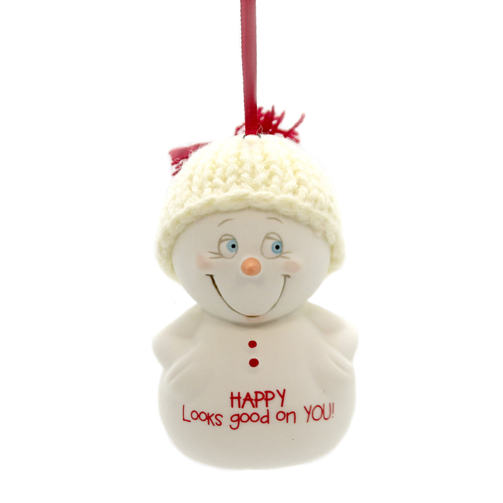 Holiday Ornaments HAPPY LOOKS GOOD ON YOU! Porcelain Snowpinions 6003267