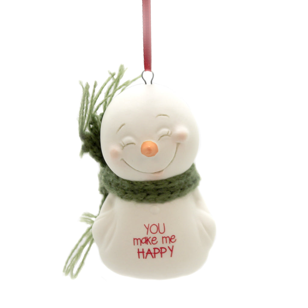 Holiday Ornaments YOU MAKE ME HAPPY Porcelain Snowpinion 6003268