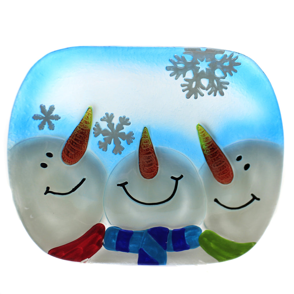 Tabletop SNOWMAN OVAL PLATTER Glass Scarf Carrot Noses Ex27169