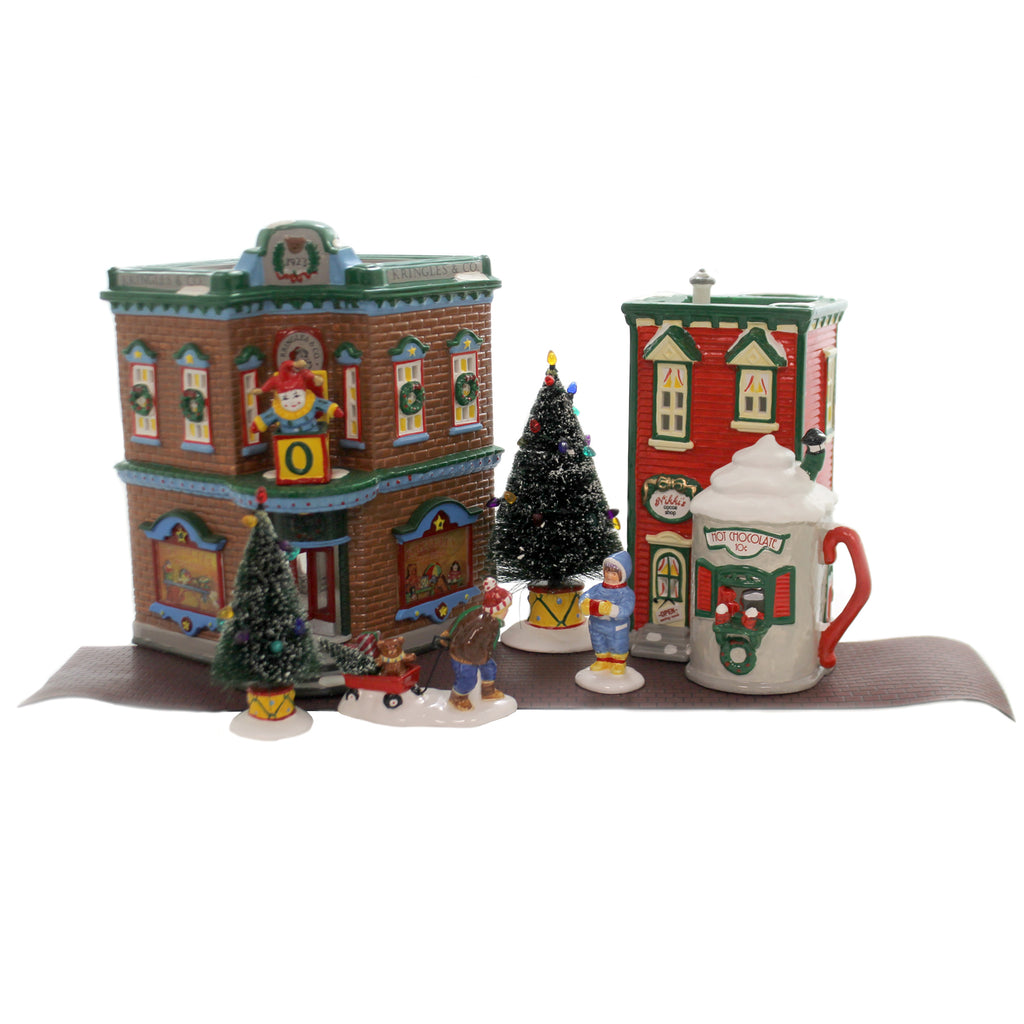 Department 56 House SATURDAY MORNING DOWNTOWN Set/7 Snow Bag Missing Village 54902
