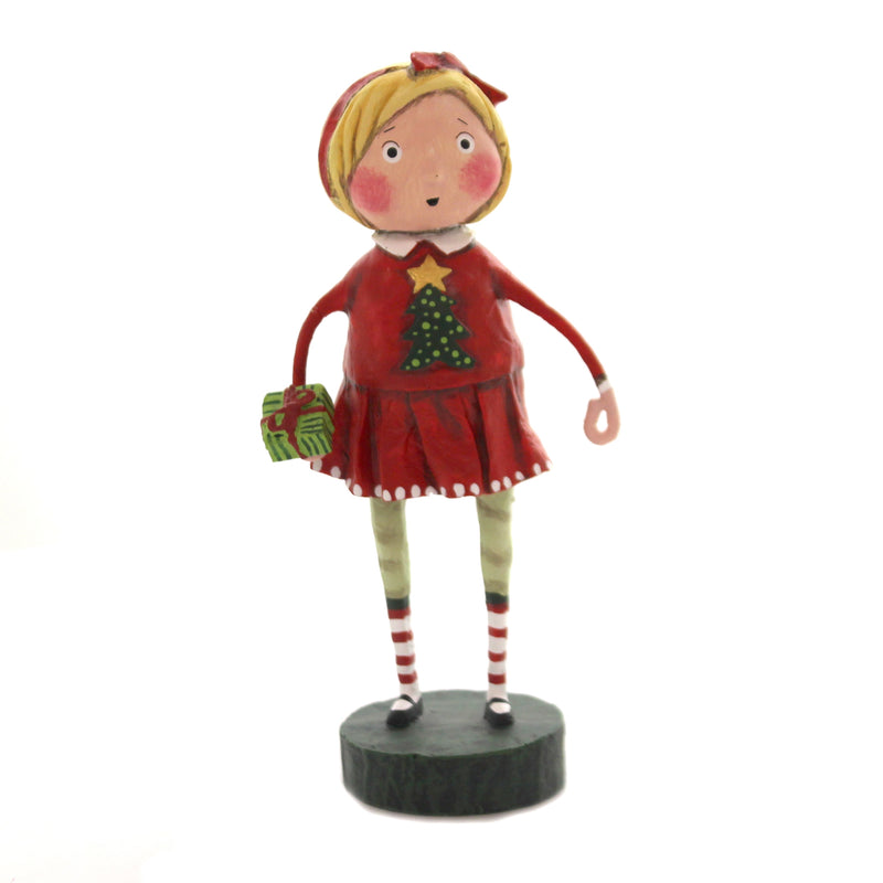 Lori Mitchell GIFT EXCHANGE GIRL Polyresin Holiday Christmas 11173