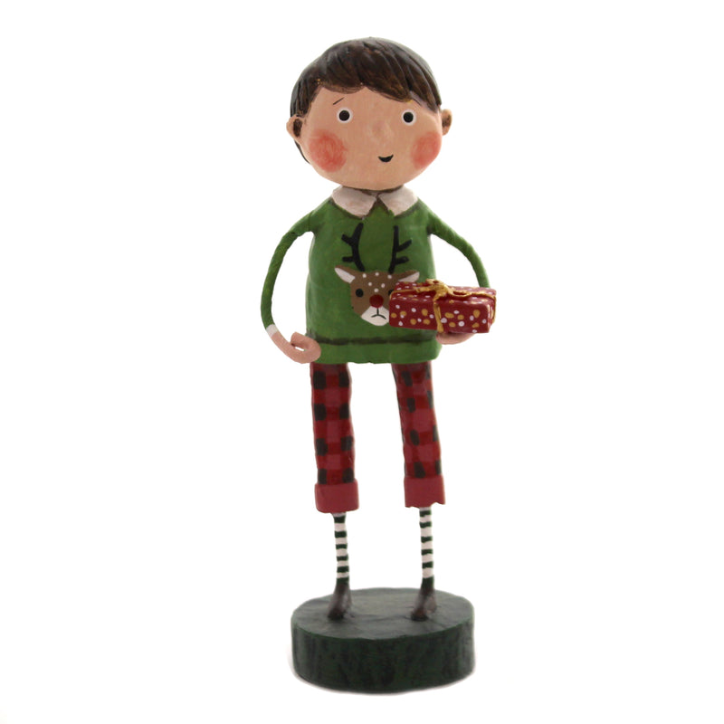 Lori Mitchell GIFT EXCHANGE BOY Polyresin Christmas Presents 11174