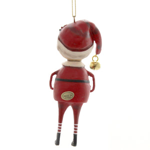 Lori Mitchell PLAYING SANTA ORNAMENT Polyresin Bells Gift Christmas 11149