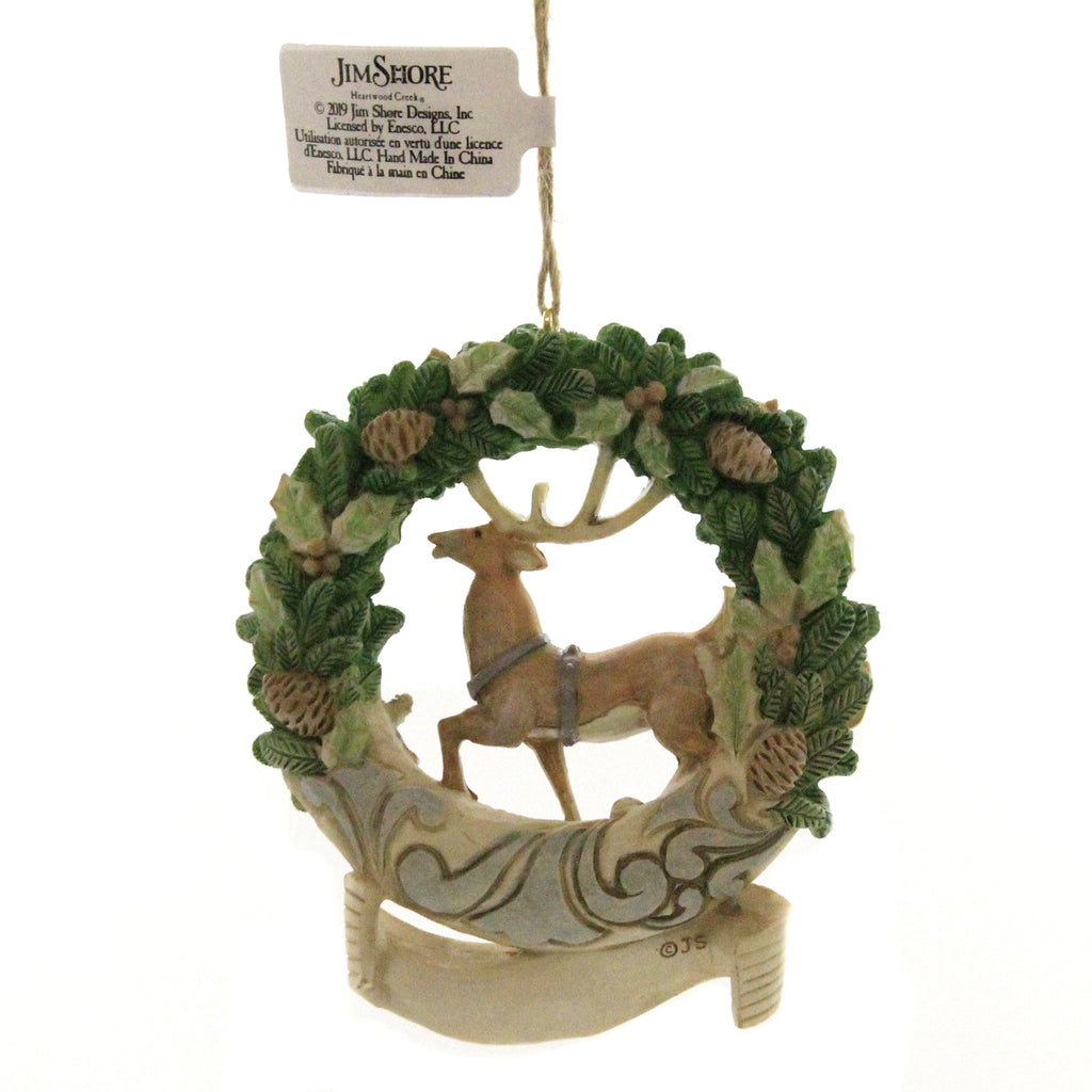 Jim Shore WHITE WOODLAND WREATH 2019 Polyresin Dated Ornament 6004175