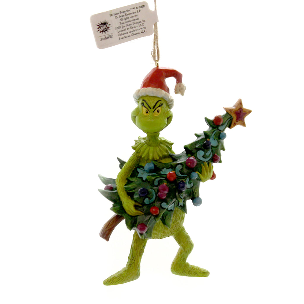 Jim Shore GRINCH HOLDING TREE ORNAMENT Polyresin Dr. Seuss 6004069