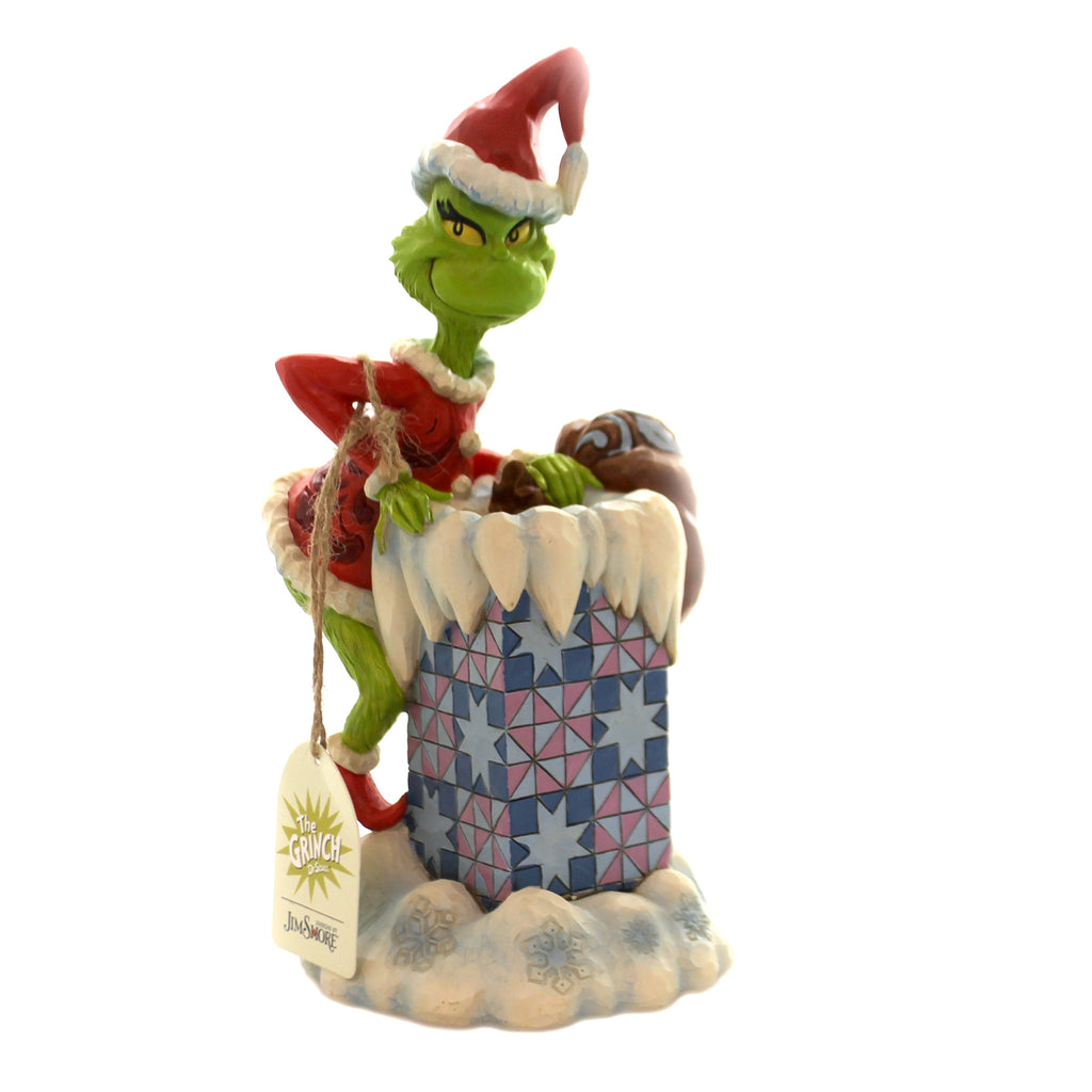 Jim Shore GRINCH CLIMBING IN CHIMNEY Polyresin Dr. Seuss 6004066