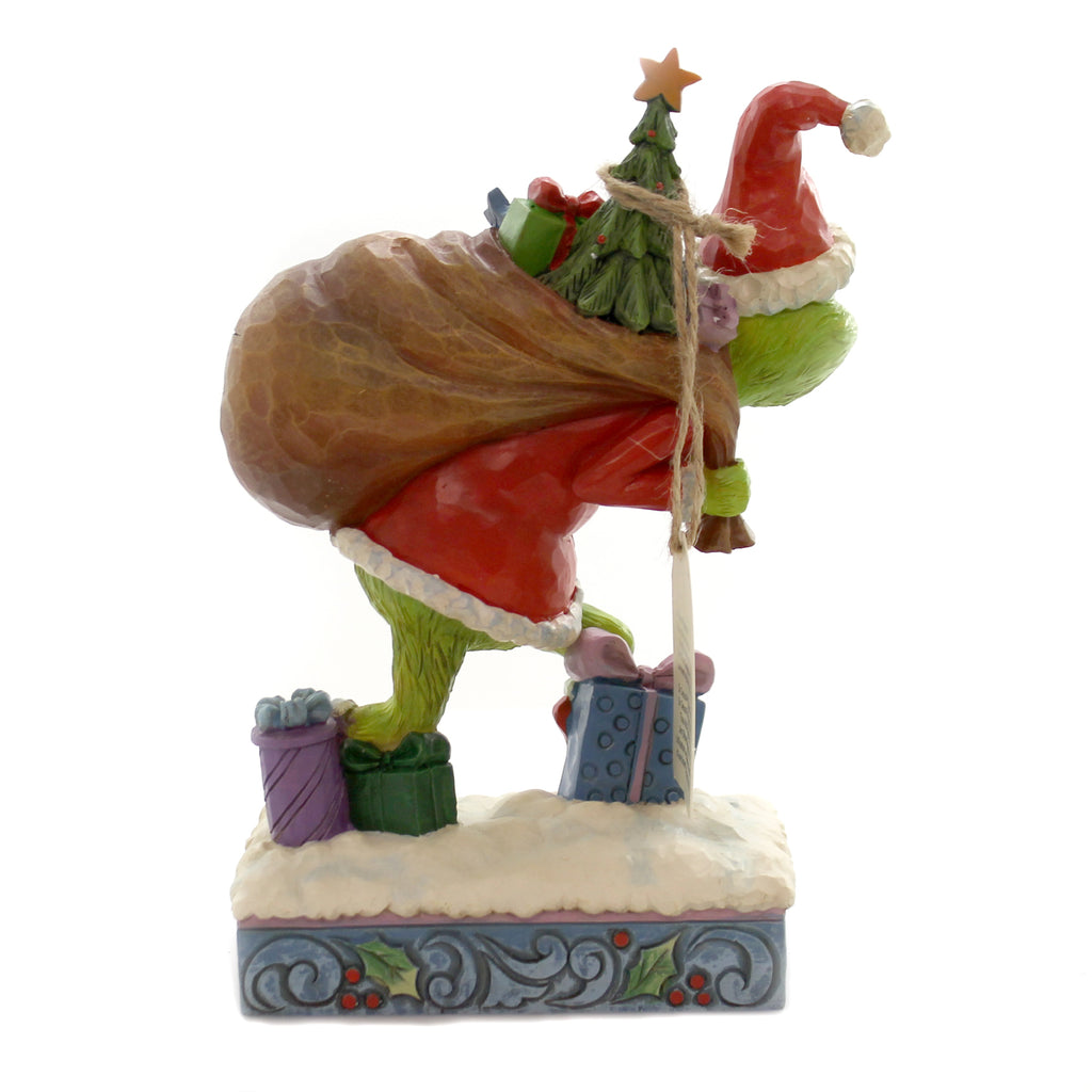 Jim Shore GRINCH TIP TOEING W/BAG OF GIFT Polyresin Dr. Seuss 6004062