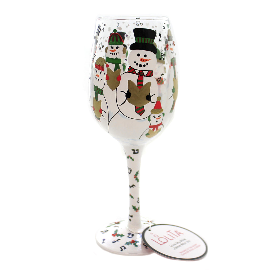 Tabletop SINGING IN THE SNOW Glass Lolita Christmas Wine Glass 6002980