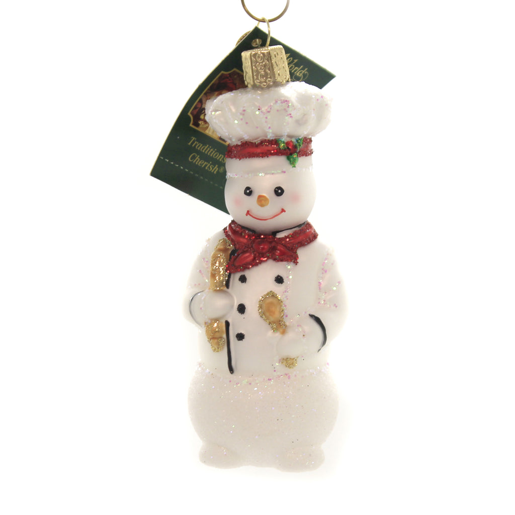 Old World Christmas SNOWMAN CHEF Glass Recipe Celebrate 24184.