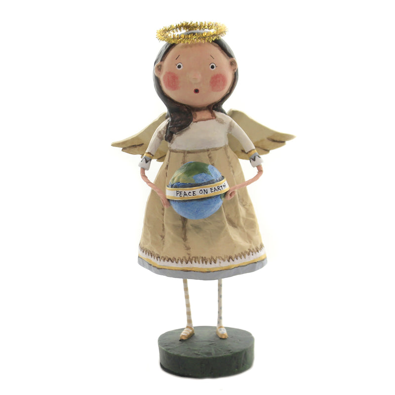 Lori Mitchell ANGEL OF PEACE Polyresin World Globe Christmas 11170