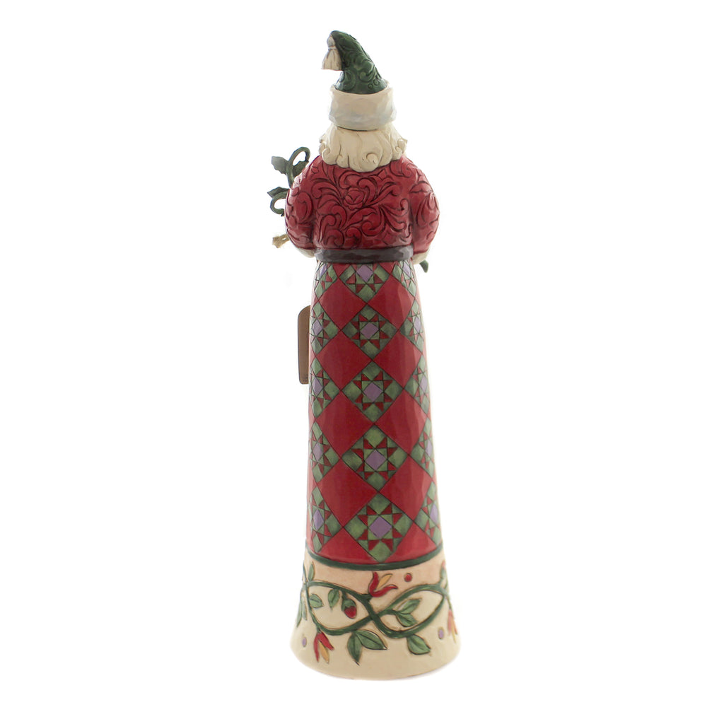 Jim Shore MAKING SPIRITS SPLENDID Polyresin Santa Holly Leaf 6004136