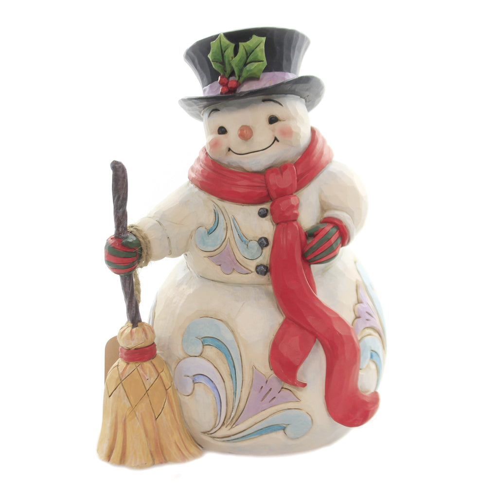 Jim Shore SWEPT UP IN THE SEASON Polyresin Snowman Broom Top Hat 6004142