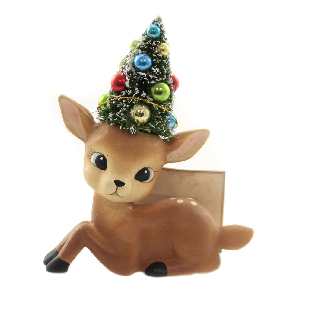 Christmas MERRY & BRIGHT REINDEER Polyresin Decorated Tree Tl8751 Laying