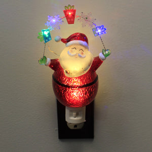 Christmas SANTA GIFTS LED NIGHT LIGHT Plastic Snowflakes Flashing 164072