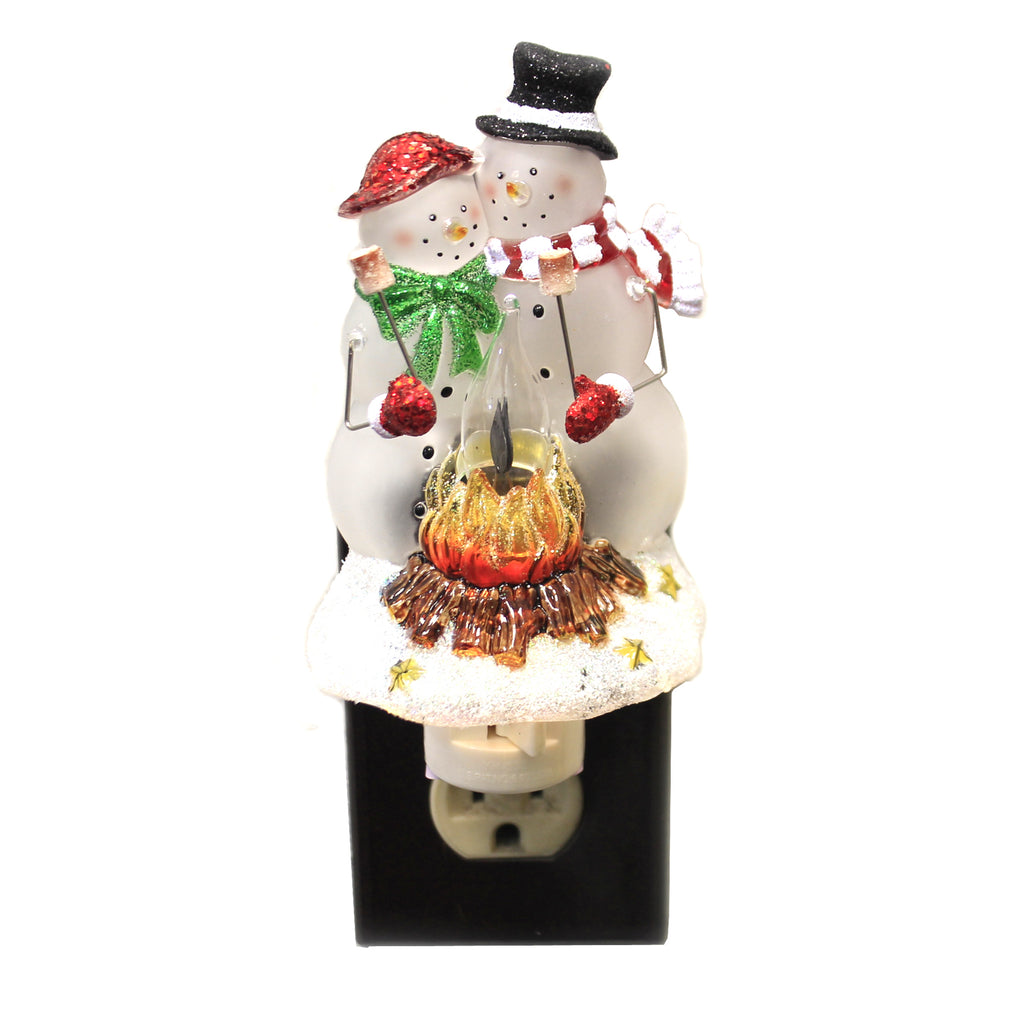 Christmas SNOWMAN COUPLE NIGHT LIGHT Plastic Smores Fire Flickers 169914