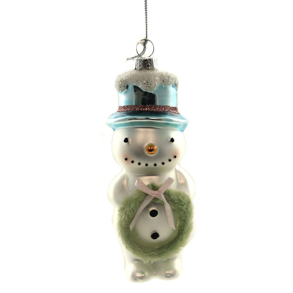 Holiday Ornaments FLEA MARKET SNOWMAN W/WREATH Glass Carrot Nose Top Hat Lc8338
