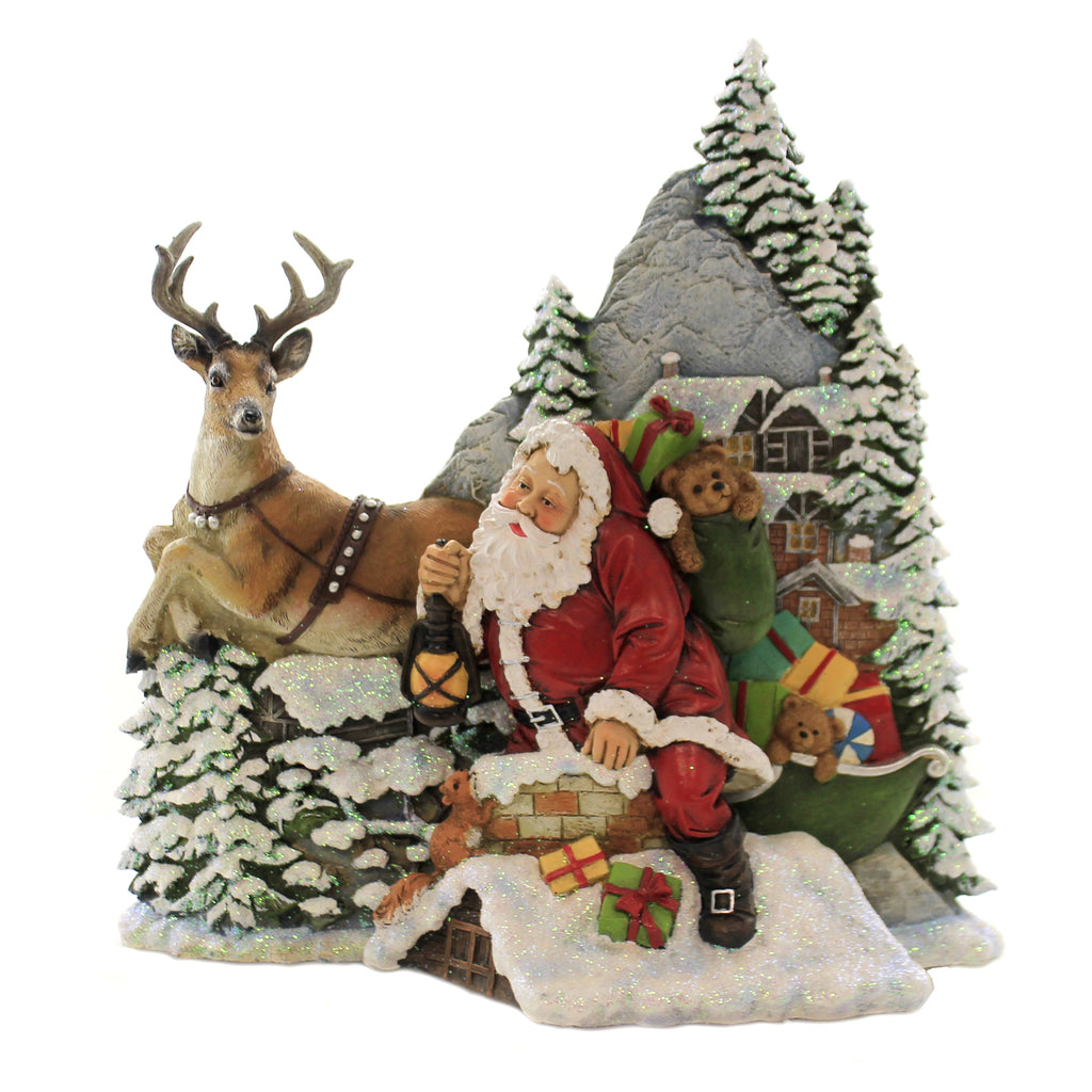 Christmas SANTA IN CHIMNEY ROOFTOP SCENE Polyresin Reindeer Lantern 131558