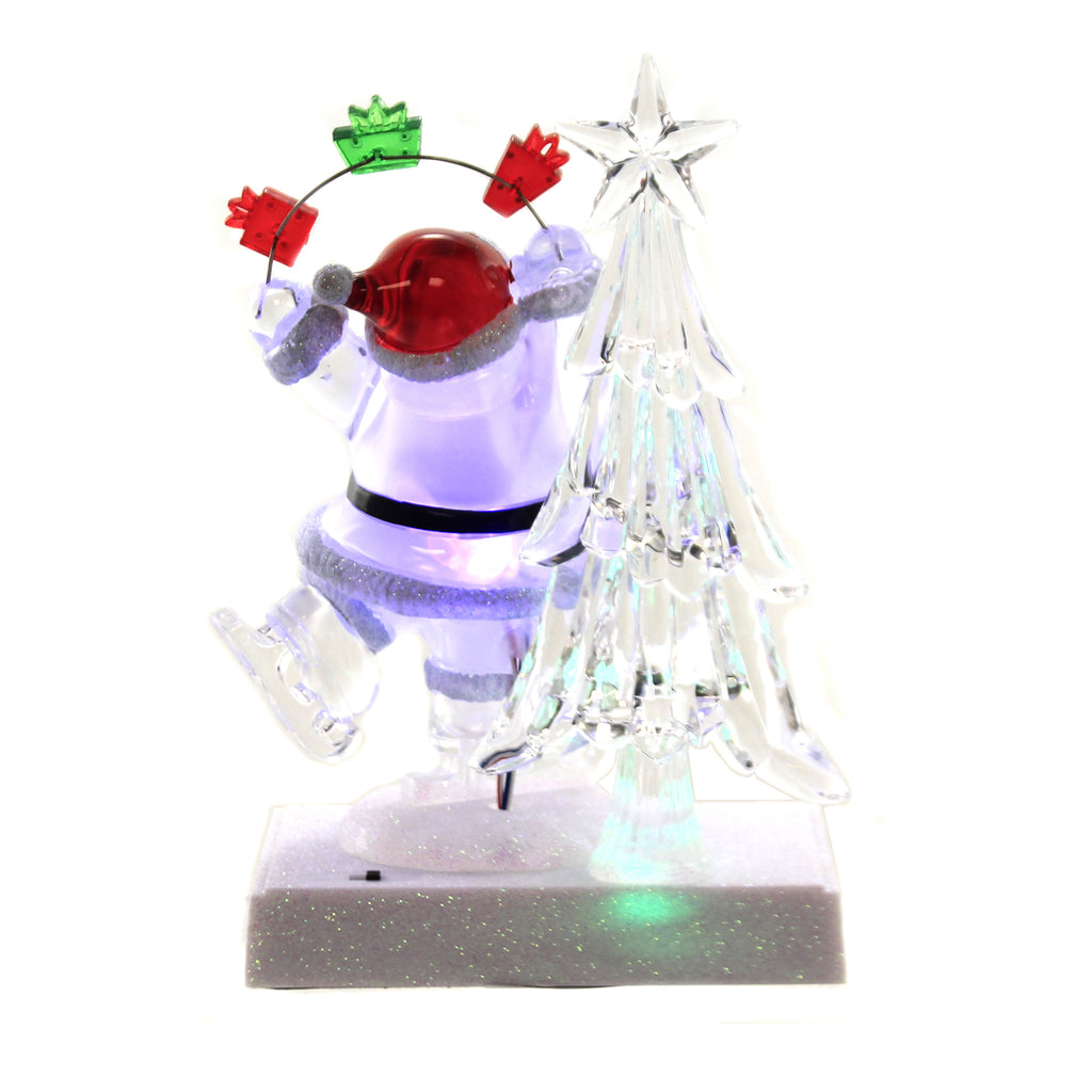 Christmas SKATING SANTA LED STOCKING HOLD Plastic Sparkle 132018