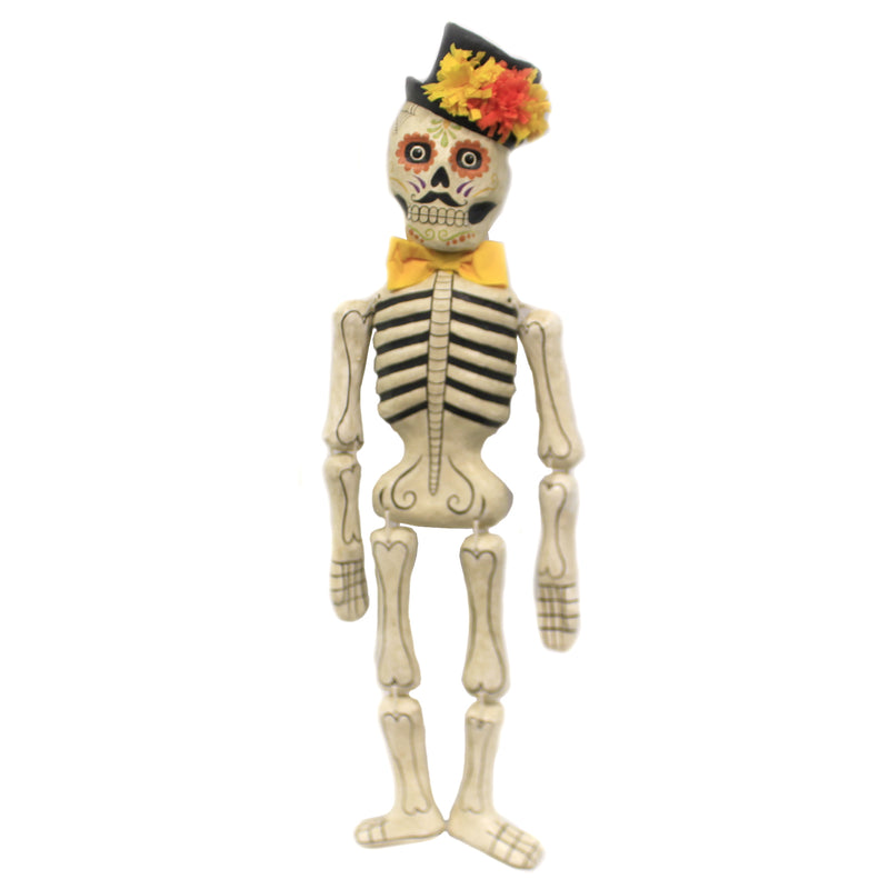 Halloween DAY OF THE DEAD SKELETON. Paper Mache Crepe Paper Bones Td8534