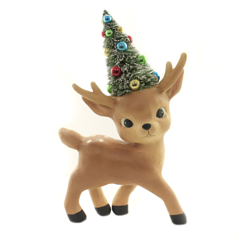 Christmas MERRY & BRIGHT REINDEER LG Paper Mache Standing Decorated Tree Tl8755