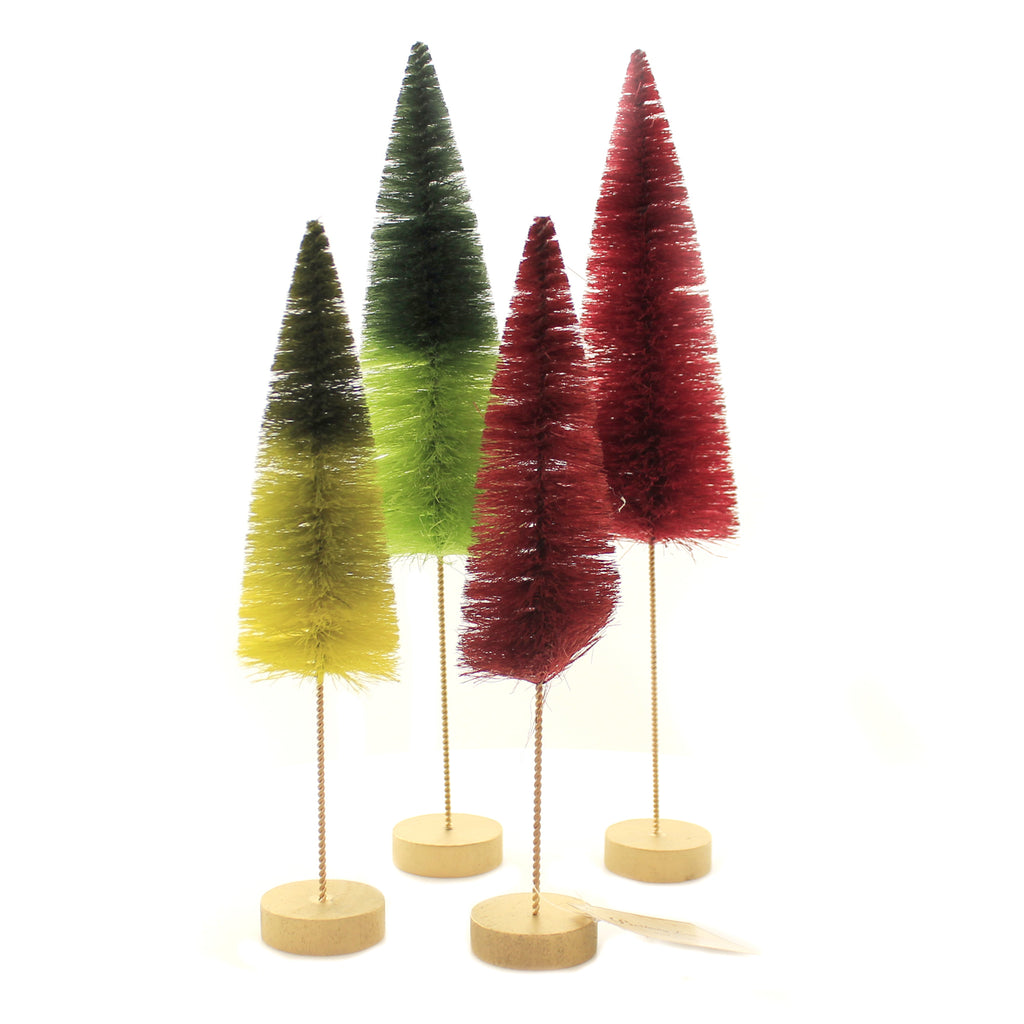 Christmas BOTTLE BRUSH FOREST Plastic Ombre Set Of 4 Sn458