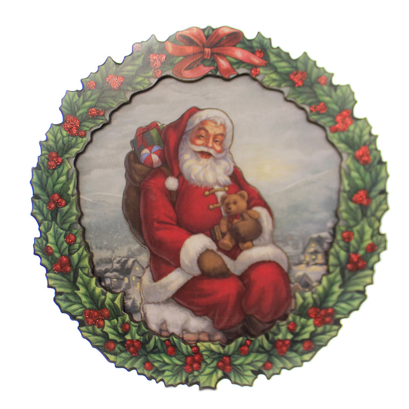 Christmas SANTA WREATH/WALL PLAQUE Wood Wreath Teddy Bear 131530