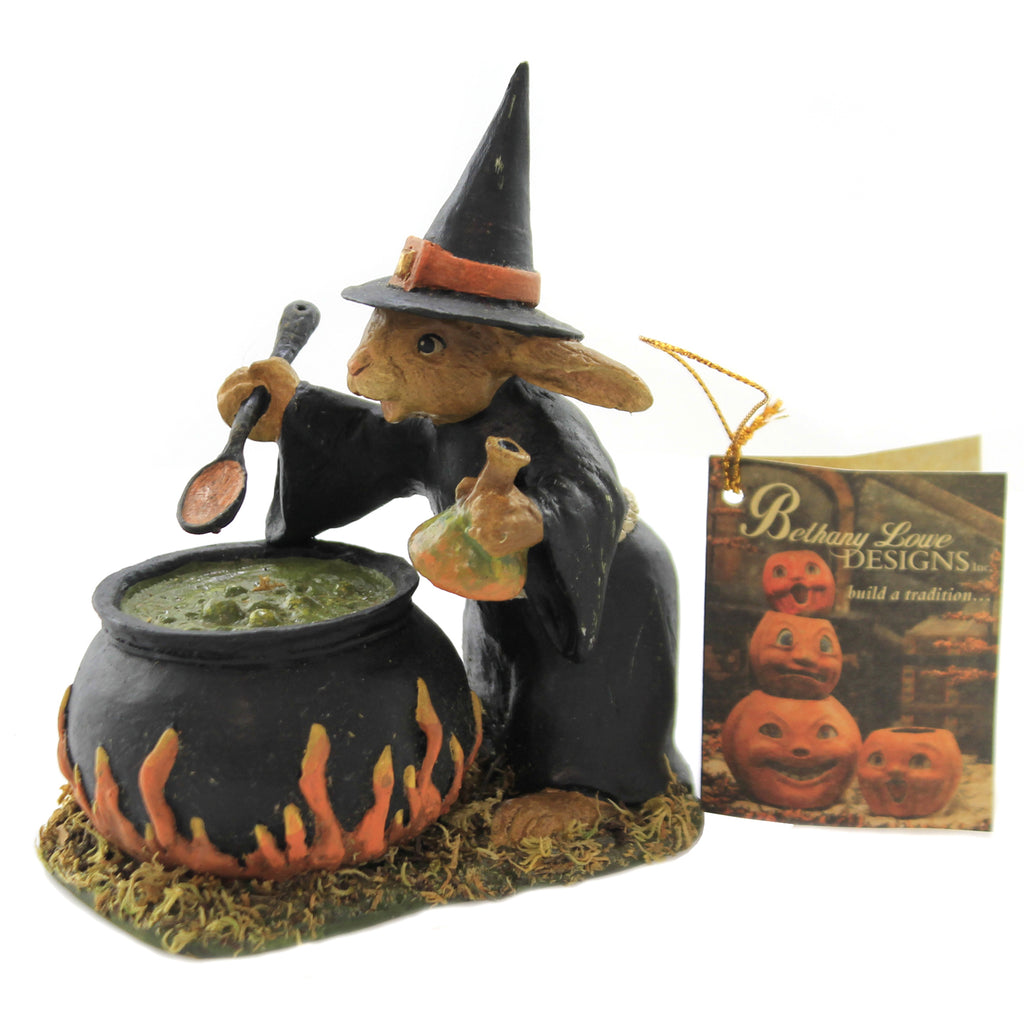Halloween RABBIT WITCH Polyresin Brew Pot Potion Td7626