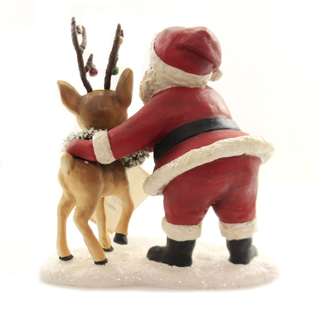 Christmas RETRO SANTA WITH REINDEER Polyresin Wreath Antlers Td7672