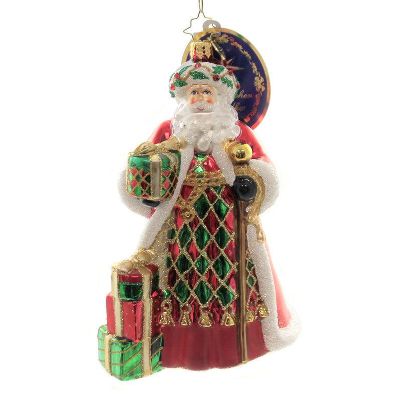 Christopher Radko HOLIDAY HARLEQUIN SANTA Glass Ornament Designer Choice 109770