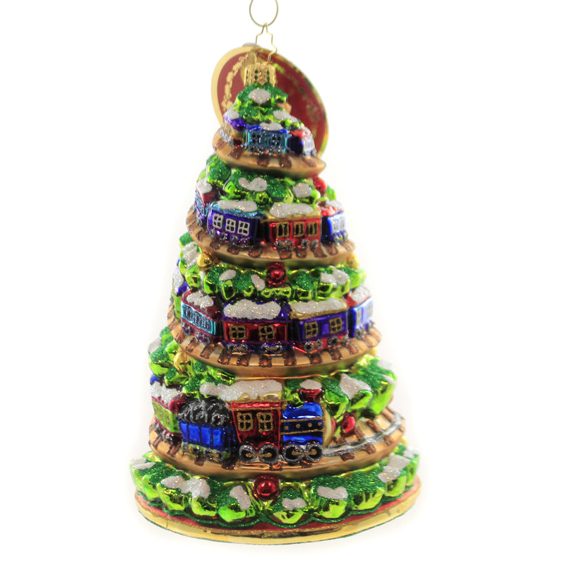 Christopher Radko TERRIFIC TRAIN TRACK TREE Glass Ornament Large 1020000
