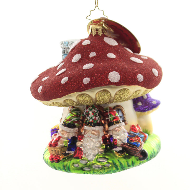 Christopher Radko I'LL BE GNOME FOR CHRISTMAS Ornament Mushroom Travelocity 1019854